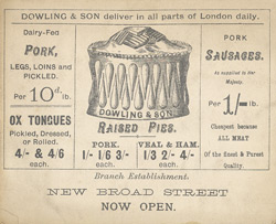Advert For Dowling & Son, Pork Butchers reverse